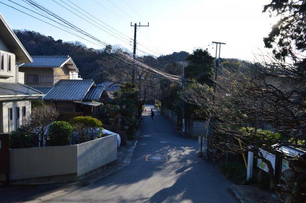 境内から見た浄妙寺山門前の歩道